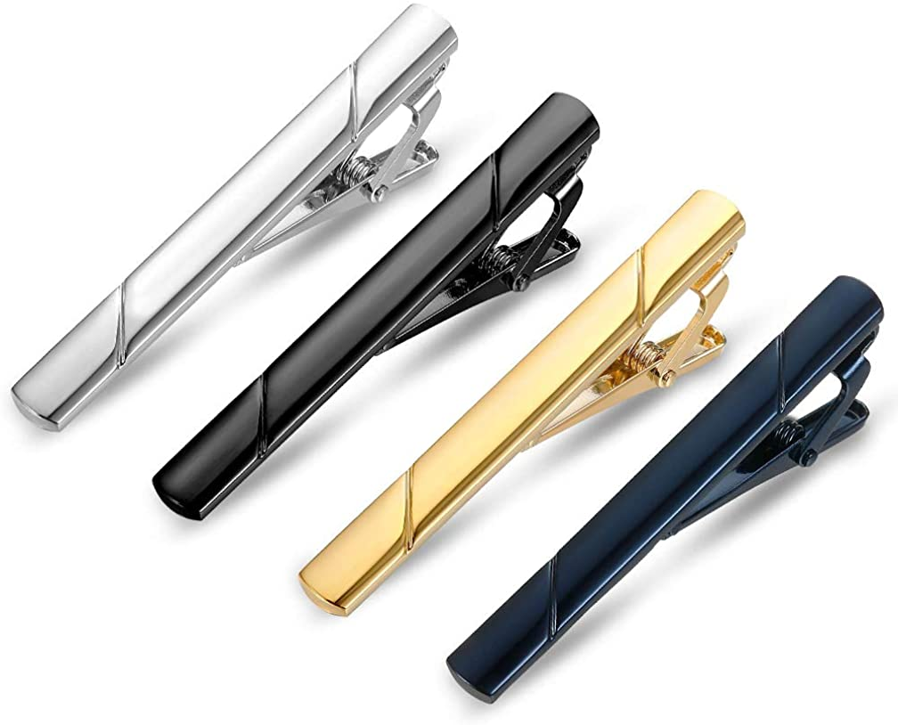 Roctee 4 Pack Tie Bar for Men, Regular Skinny Tie Clip Set Necktie Bar Pinch Clips for Business Wedding and Daily Life, Include Black/Navy/Gold/Silver 4 Colors