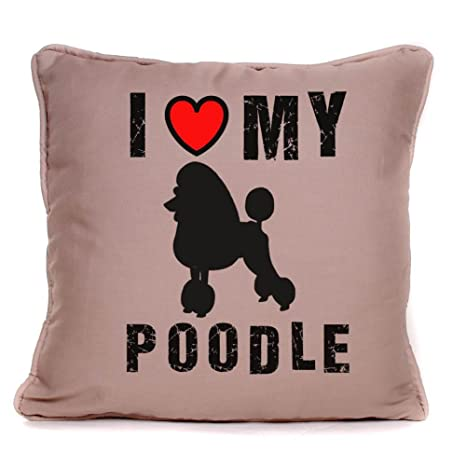 Amazon.com: Personalizado POODLE DOG Cojín I Love My perrito ...