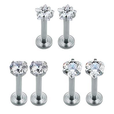 c0695857b 4 Pairs 16g Stainless Steel Cubic Zirconia Labret Monroe Lip Ring Helix  Tragus Studs Earrings piercing