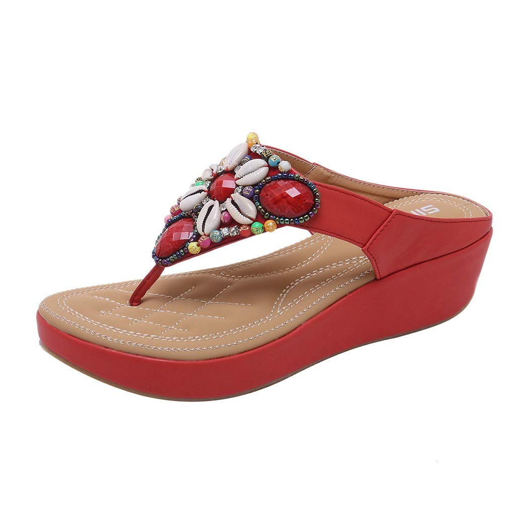 Orangeskycn Summer Women Flip Flops Sandals Summer Bohemia Ladies Pearl Wedge Sandals Thick Bottom Beach Slippers Red