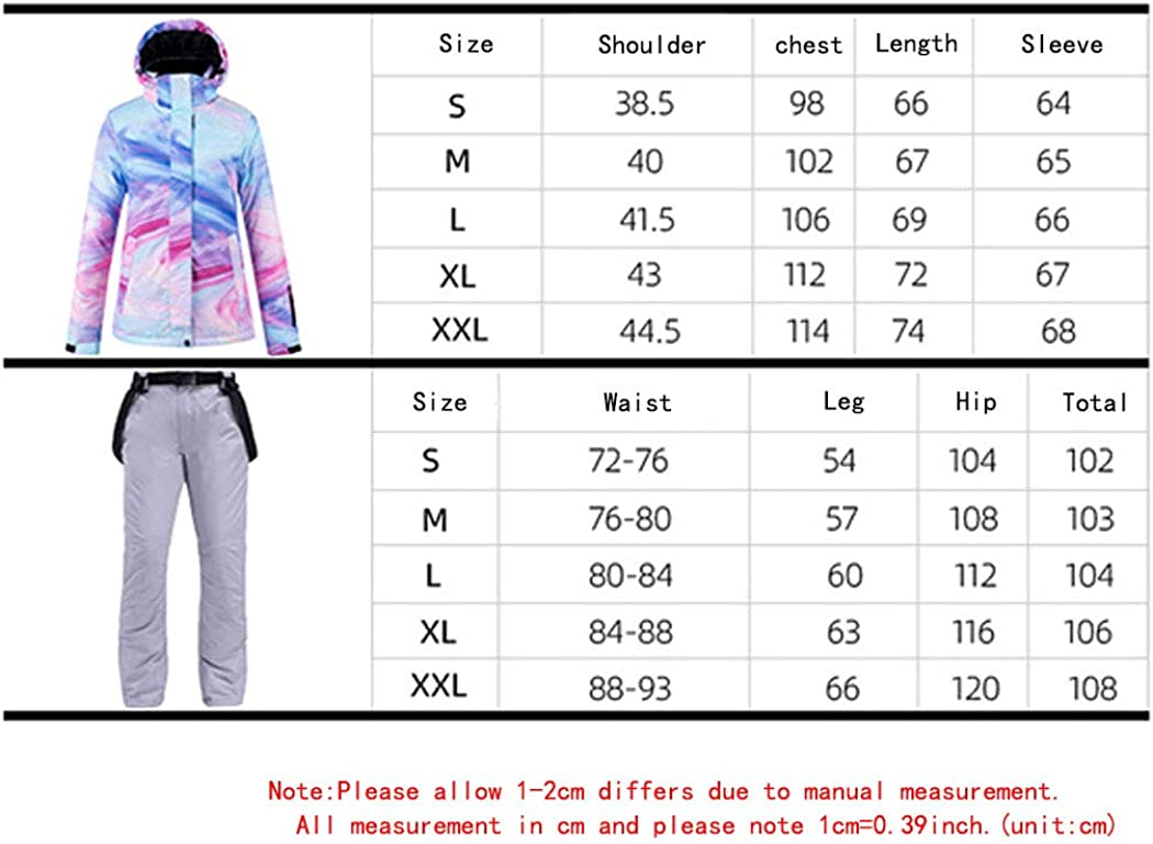 Womens Windproof Snowsuit Winter Waterproof Hooded Ski Jacket and Pants Snowboard Ski Suits Yellow pants