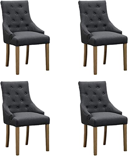 Ansley HosHo Modern Charcoal Dining Room Chair Set 4 Tufted Kitchen Chair Padded Comfortable Dining Chair