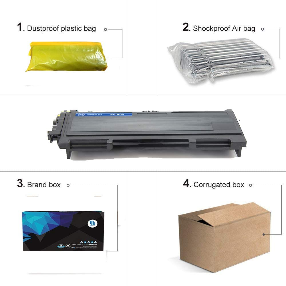 GoToners 2PK TN350 TN-350 Toner for Brother DCP-7020 HL-2040 MFC-7420 MFC-7820N MFC-7220 HL-2040N HL-2030 HL-2070N MFC-7225 MFC-7820 MFC-7820D HL-2030R HL-2035 HL-2037 HL-2037E Brother TN350