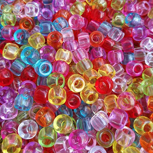 Rainbow Transparent Multicolor Mix Craft Pony Beads Bulk Bag (1000pcs 6x9mm)
