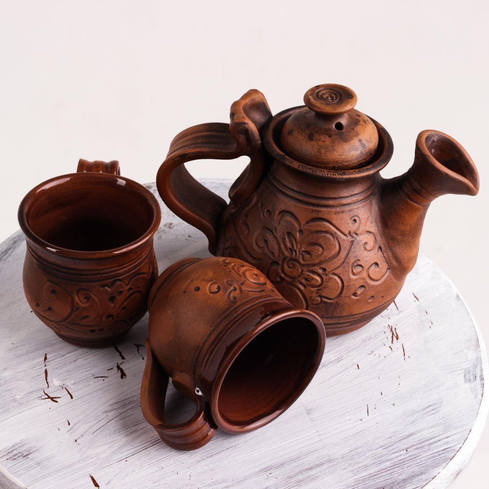 Handmade ceramic tea set Stoneware clay Tea cups Ceramic teapot