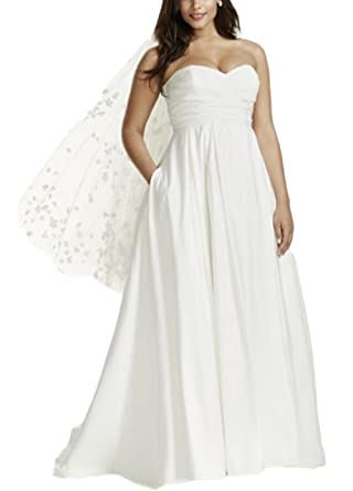 Veilace Women\'s Strapless Ruched Bodice Empire Waist Wedding Dress ...