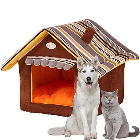 LA VIE Casa para Mascotas Plegable Cama de Gatos con Cojín Lavable y Base Antideslizante Cama Nido Suave y Cómoda para Gatos Perros Pequeños L
