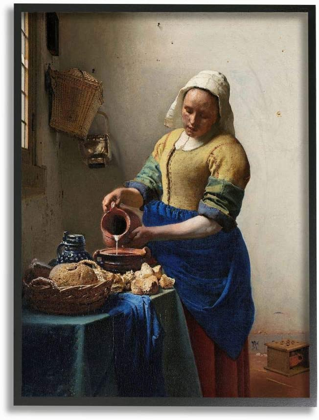 Stupell Industries Vermeer The Milkmaid Classical Painting Black Framed Wall Art, 24 x 30, Multi-Color