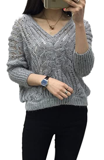b890ec6f729c66 Lingswallow Women s Sexy Hollow Out V Neck Batwing Sleeve Short Cable Knitted  Sweaters Grey