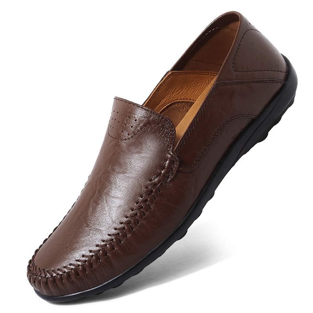 Fuxitoggo Slip-on Echtes Leder Schuhe für Männer Fahr Weiche Sohle Rutschfeste Casual Fahr Männer Schuhe (Farbe : Schwarz, Größe : EU 41) Braun e067c9
