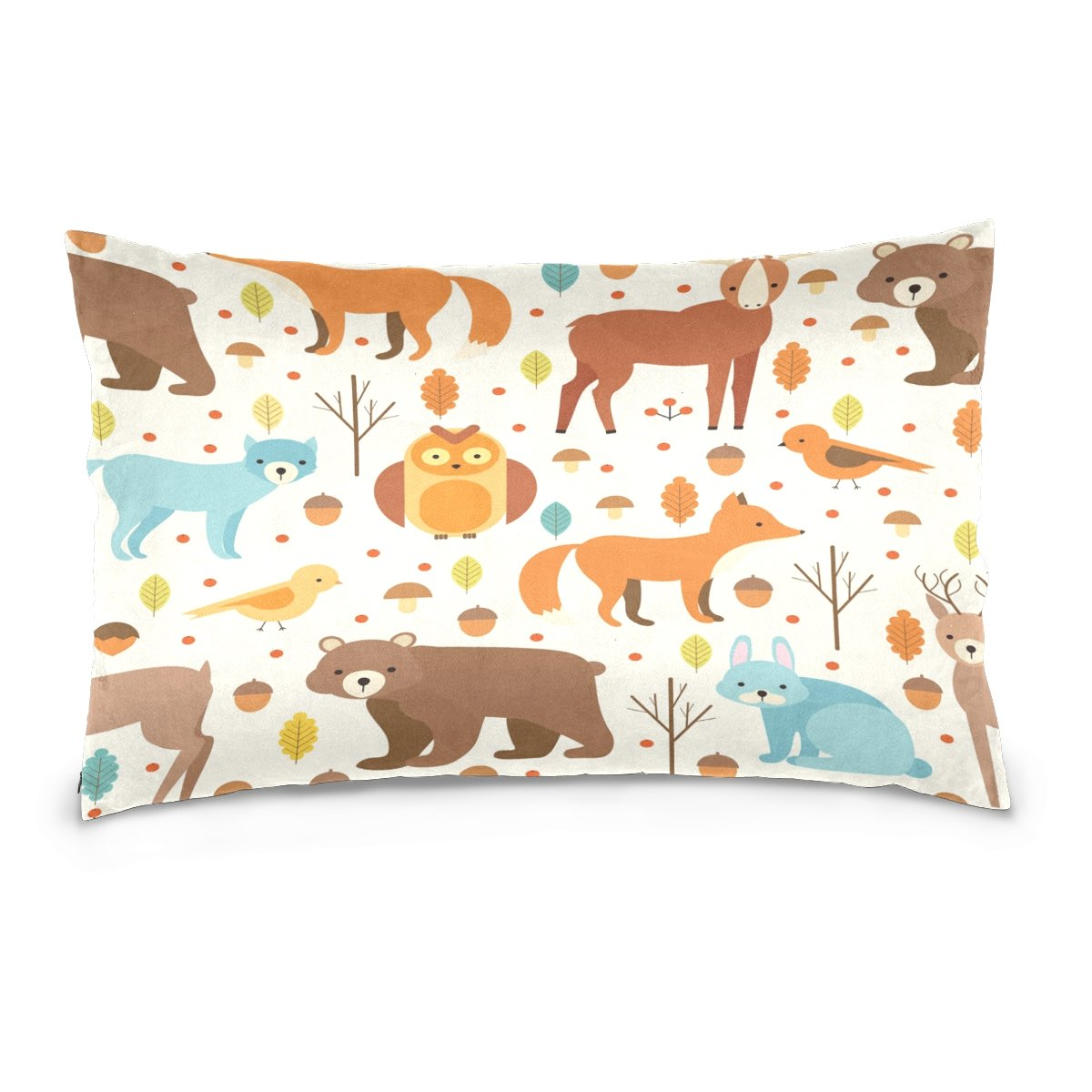 Pillow Covers Pillow Protectors Bed Bug Dust Mite Resistant Standard Pillow Cases Cotton Sateen Allergy Proof Soft Quality Covers with Seamless Cute Cartoon Animals for Bedding
