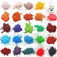 Mica en polvo - Kit de fabricación de jabón - Juego de pigmentos en polvo - Tintura para hacer jabón - 24 para colorear - Jabón de manos para hacer suministros - Tintura de resina - Polvo de mica orgánico para moldes de jabón - Colorante de baño Bomb