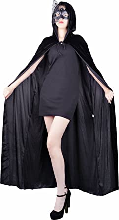 Hooded Velvet Wizard Cloak Cape Men Halloween With Sleeves Robe Various colours