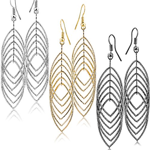 - Fashion Costume Jewelry Dangle Drop Earrings Set For Women Teen Silver Gold And Black Tones (GL2: Long Drop 3.5
