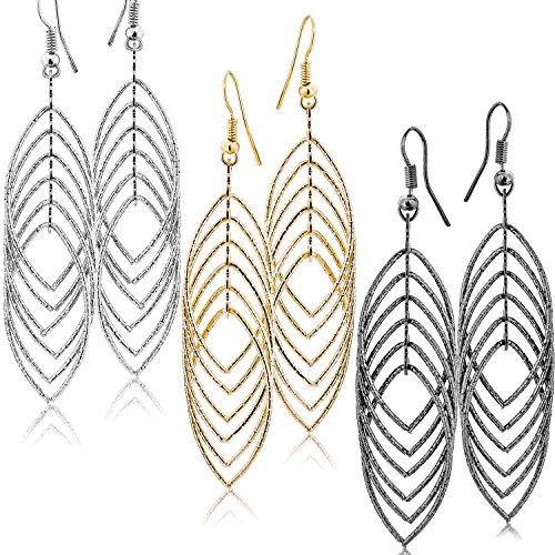 Fashion Costume Jewelry Dangle Drop Earrings Set For Women Teen Silver Gold And Black Tones (GL2: Long Drop 3.5