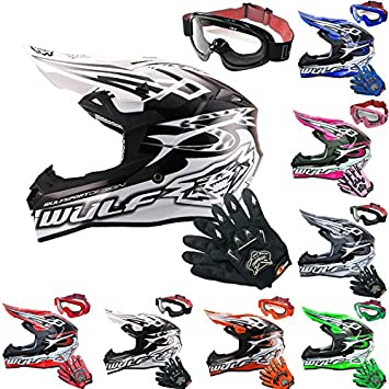 Wulfsport Racing Adulto SCEPTER MX Motocross Motocicleta Motocicleta Casco y Leopardo Adulto MX Motocross Gafas y