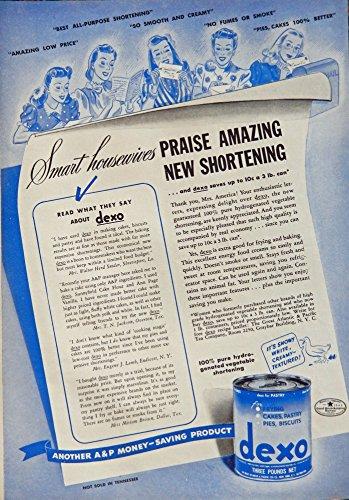 (dexo shortening, 40's Print ad. Color Illustration (praise amazing new shortening) Authentic original, Vintage 1940 Woman's Day Magazine Print Art)