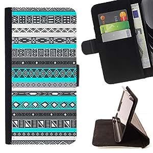 Momo Phone Case / Flip Funda de Cuero Case Cover - Patrón indio nativo americano azul - Sony Xperia M2