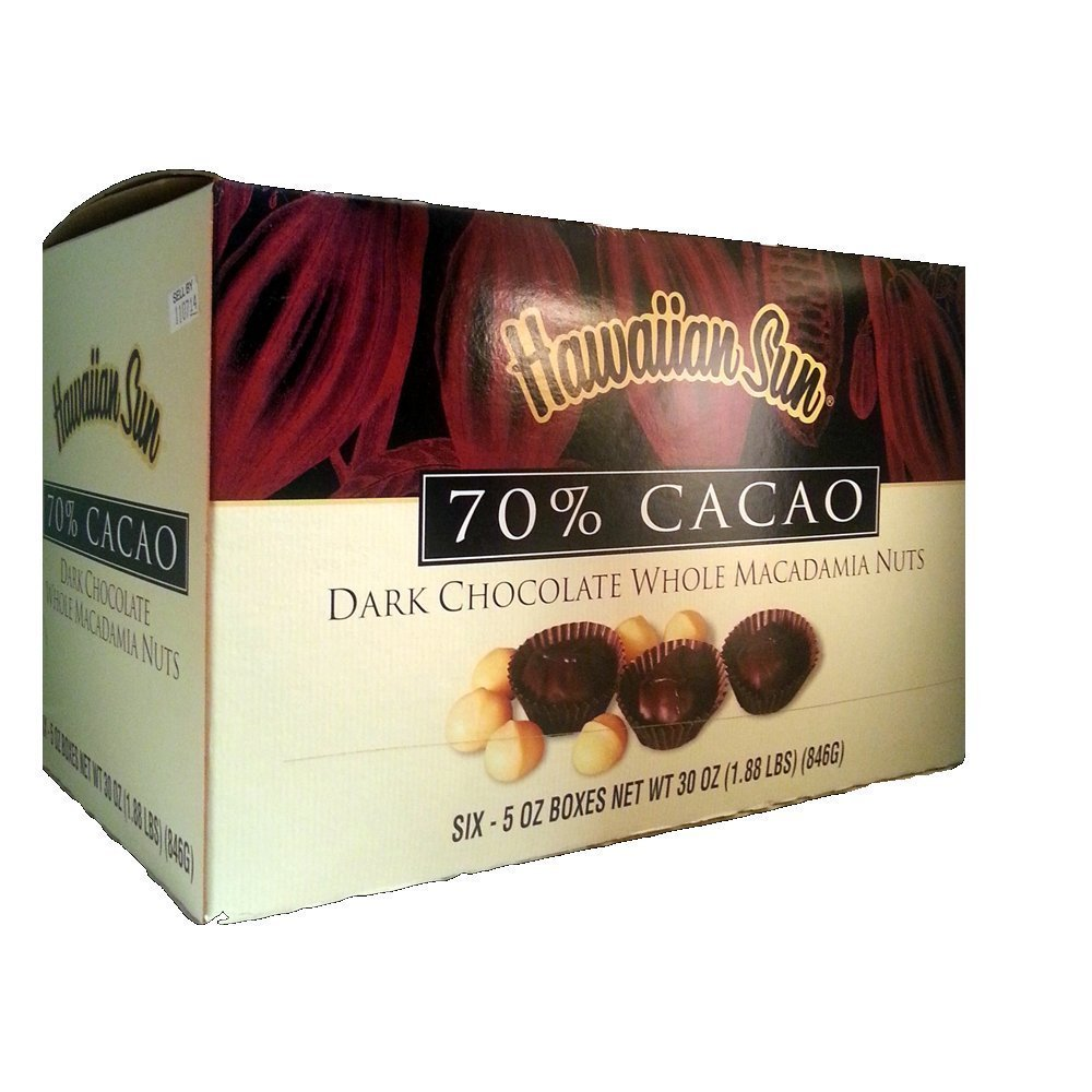 Hawaiian Sun 70% Cacao Dark Chocolate Whole Macadamia Nuts (6 Boxes)