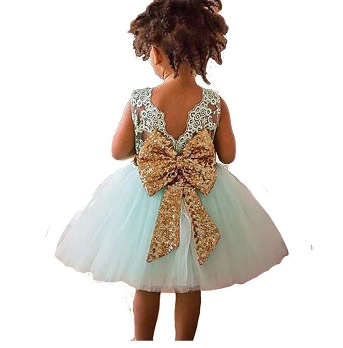Inlefen Baby M/ädchen Party Kleid Bowknot Floral /ärmellose Prinzessin Kleid f/ür 6 Monate-5 Jahre