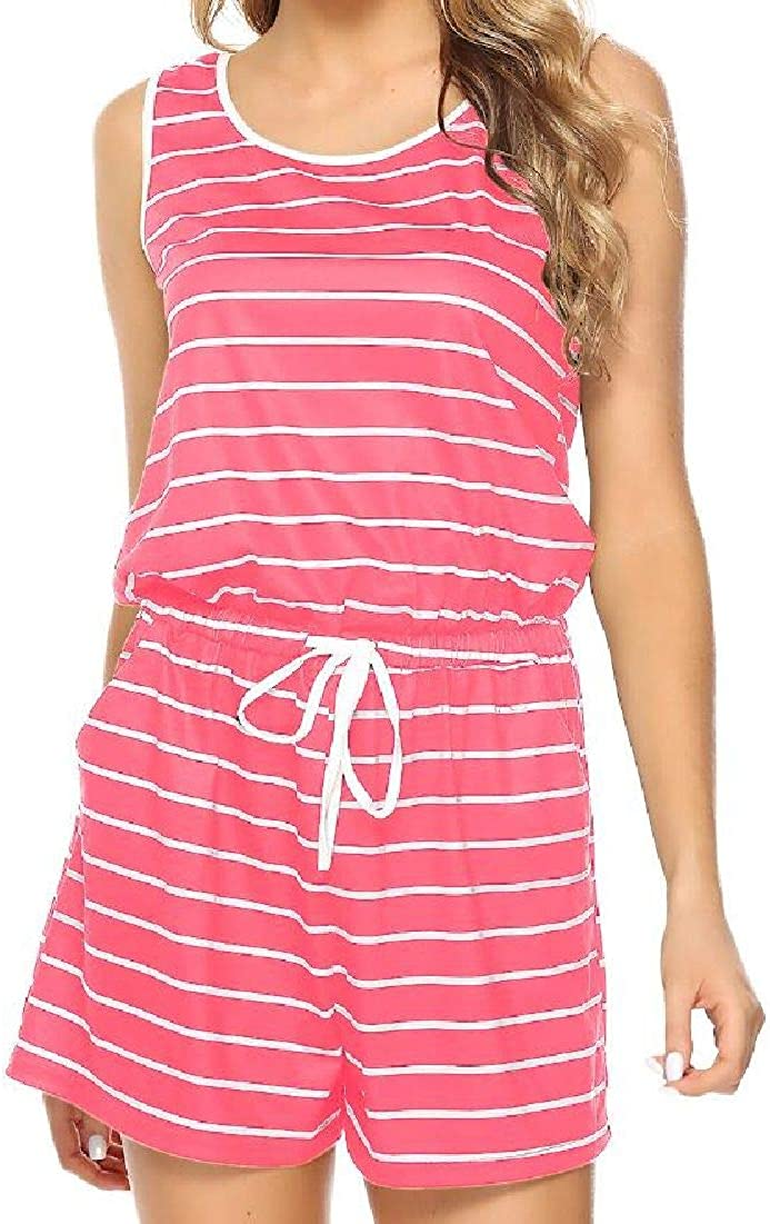 Fubotevic Womens Relaxed-Fit Striped Casual Sleeveless Drawstring Jumpsuit Romper