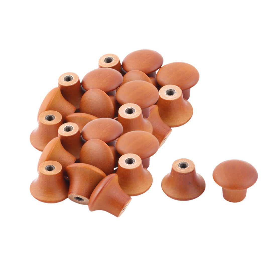 uxcell Wood Office Home Round Door Closet Drawer Box Case Pull Handle Grip Knob 26pcs