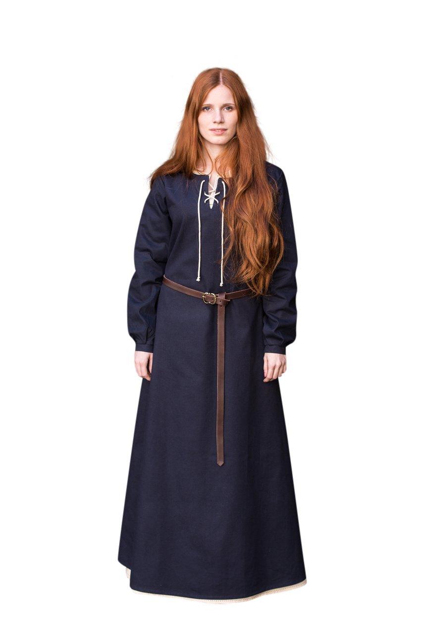 Elbenwald Mittelalter Kleid Langarm Gewand Damen blau Baumwolle - S