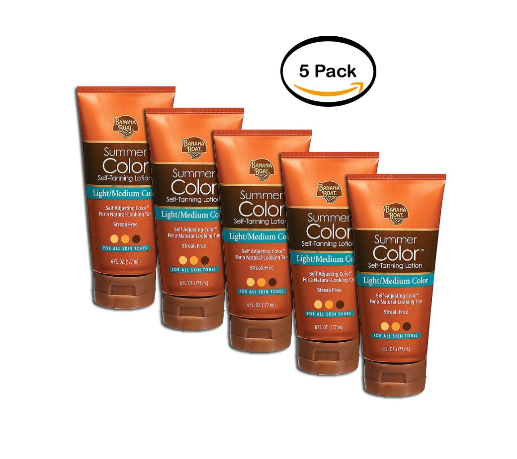 PACK OF 5 - Banana Boat Summer Color Self-Tanning Lotion Light/Medium Color - 6 Ozs