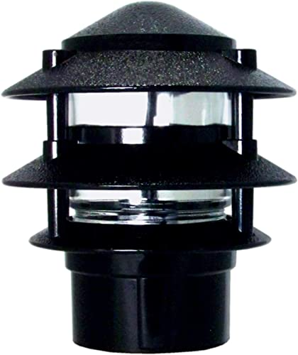 Greenfield PL3TPBLEDBL Black Made in The USA LED Weatherproof 3-Tier Pathlight with Post Base