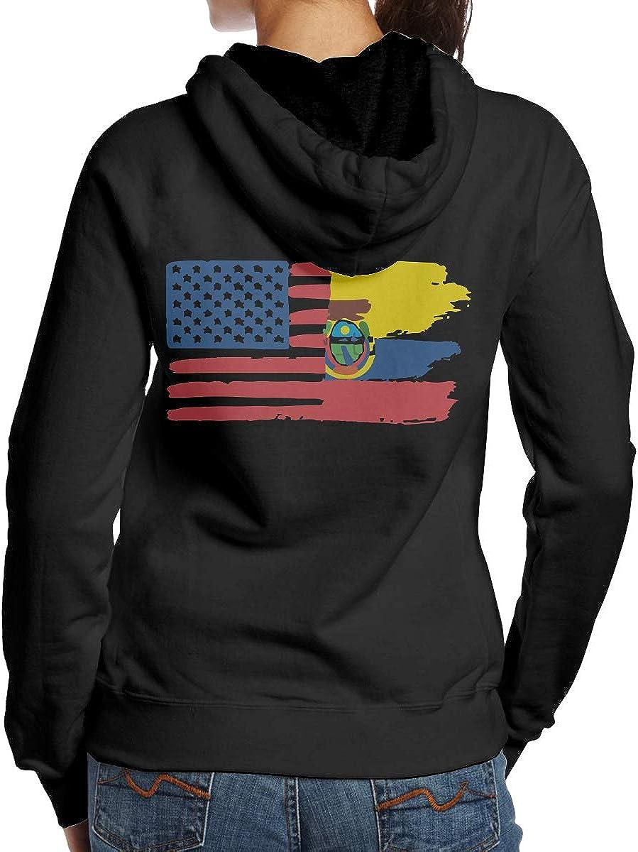 BB/&YYY Ecuador USA Flag Womens Pullover Hoodie Sweatshirt Back Print Hoodies