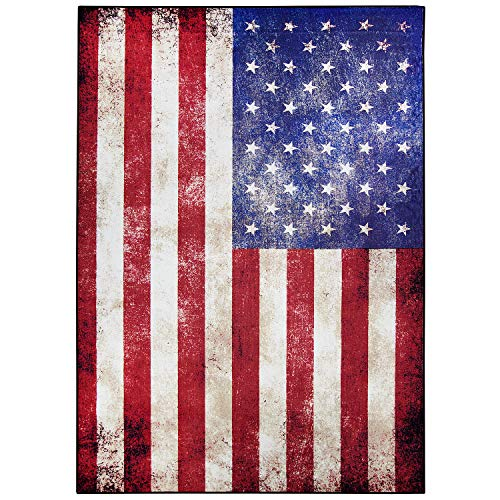 """USA Vintage Flag Nylon Non-Slip Indoor Outdoor Area Rug Carpet 5-ft x 7-ft (60"""" x 84"""") Retro July 4th Independence Memorial Day Patriotic Freedom Stars for Office Home Living Dining Room Decoration"""