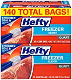quart freezer bags slider - Hefty Slider Freezer Bags (Quart, 140 Count)