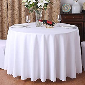 Round Kitchen Tablecloth, Solid Polyester Table Cover for Wedding Party Restaurant Home Square Tablecloth-White Diameter280cm(110inch)