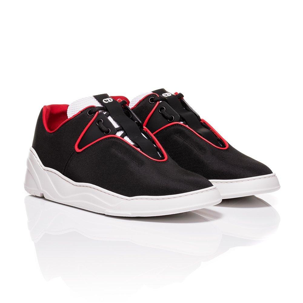 f4214b42 Dior Homme Black Nylon Canvas and Matt Black Calfskin Sneakers (8 UK ...