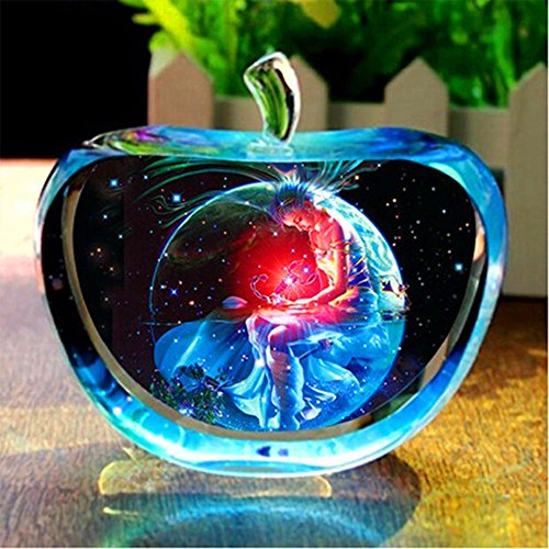 12 constellation Clear Rare Crystal Glass Apple Model Figurines Paper weights natural stones and minerals Photo Customized Crystals For Home Decor (Scorpio)