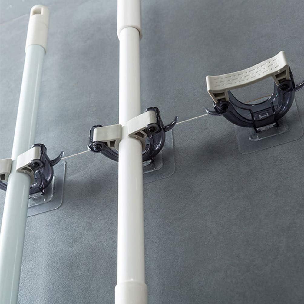 White TOPBATHY Wall Mounted Mop Holder Brush Broom Hanger Clip Storage Rack Multi Function Seamless Hook Punch Free for Kitchen Bathroom Organizer 2pcs