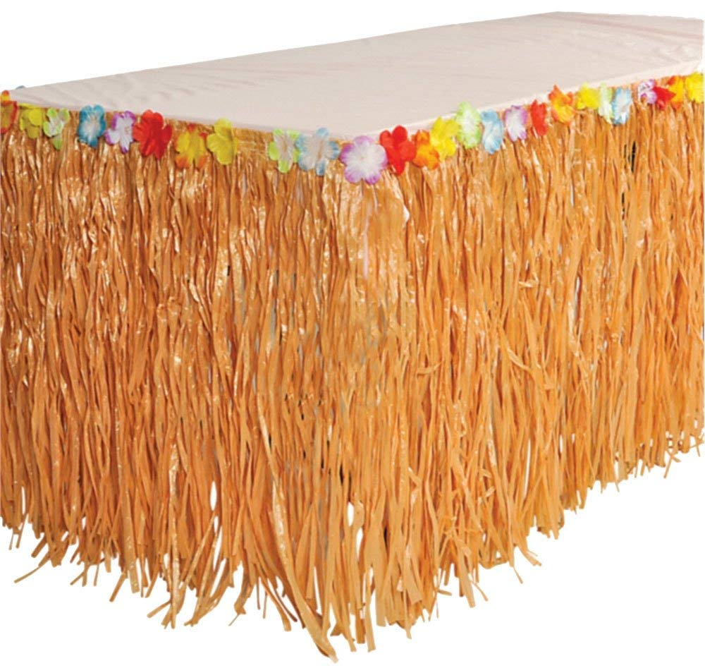 RINCO Luau Natural Color Grass Table Skirt Decoration with Tropical Flowers, 9' x 29' 9' x 29 Oasis Supply RN LUTABSK