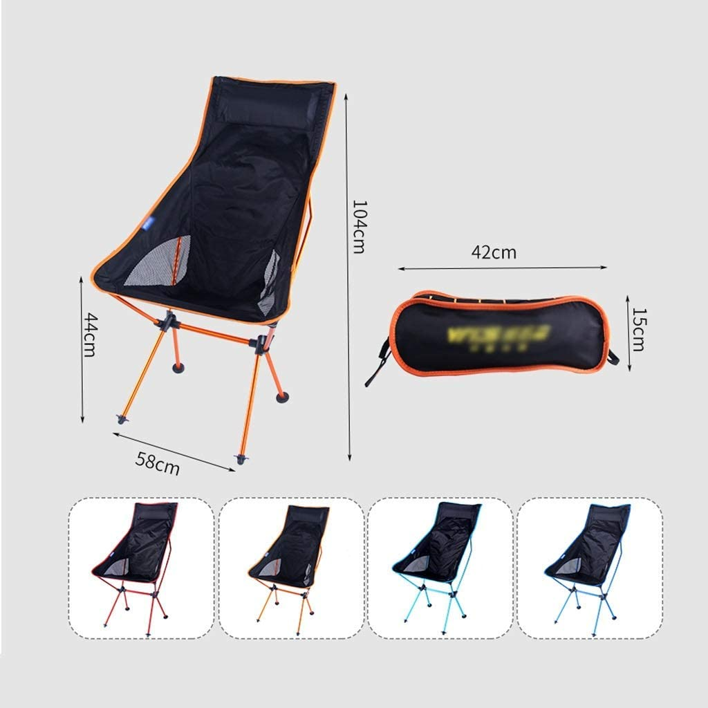 ZTMN Camping Folding Chair, Comfortable High Back Design Portable Outdoor Chairs Lightweight Ultralight Foldable Chairs Blue