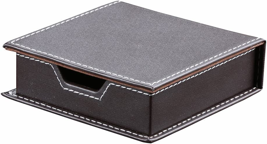 KINGFOM Desktop Organizer Supplies Leather Name Cards Holder Sticky Notes Dispenser Case with a Lid Cover 3.9 x 3.9 Inches(brown)