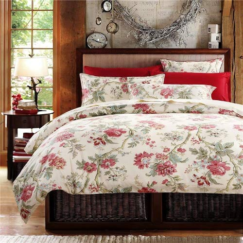Eikei Home French Country Garden Toile Floral Printed Duvet Quilt Cover Cotton Bedding Set Asian Style Tapestry Pattern Chinoiserie Peony Blossom Tree Branches Multicolored Design (Twin, Ivory)