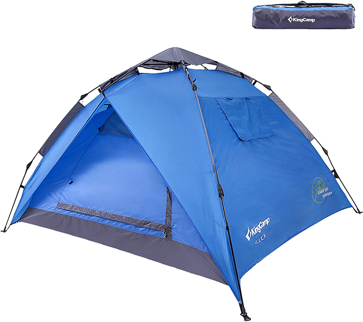 KingCamp 3-Persons 2-Seasons Quick-Up 2-IN-1Durable Roomy Outdoor Camping Tent Two Door Awnings with Carry Bag for Camping Beach Garden