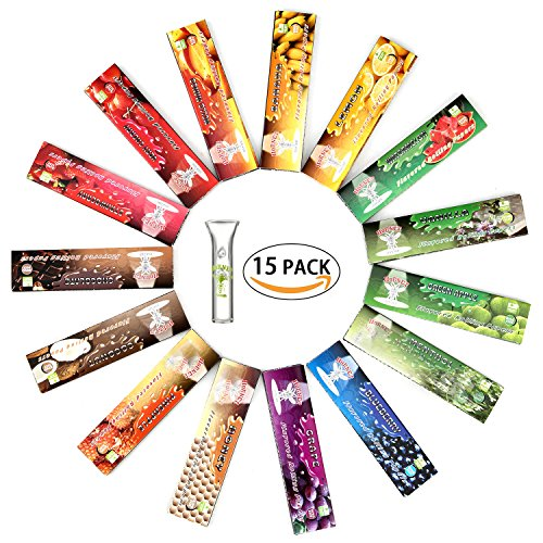 Hornet Flavored Rolling Papers, King Size 15 Kinds of Juicy Fruit Flavored with Glass Holder, 15 Packs of 32 Leaves, 480 Papers (110mm)