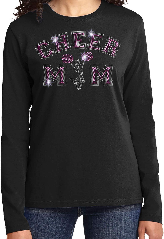 Cheer Mom with Jumping Cheerleader Spangle Rhinestone Bling Shirt