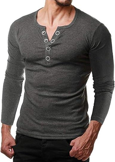 Yvelands Pollover Camiseta de Manga Corta sólida Hombre Casual Camisa de Metal Hermosa Blusa Top Party Beach Work Primavera Otoño Verano, Liquidación!: Amazon.es: Ropa y accesorios