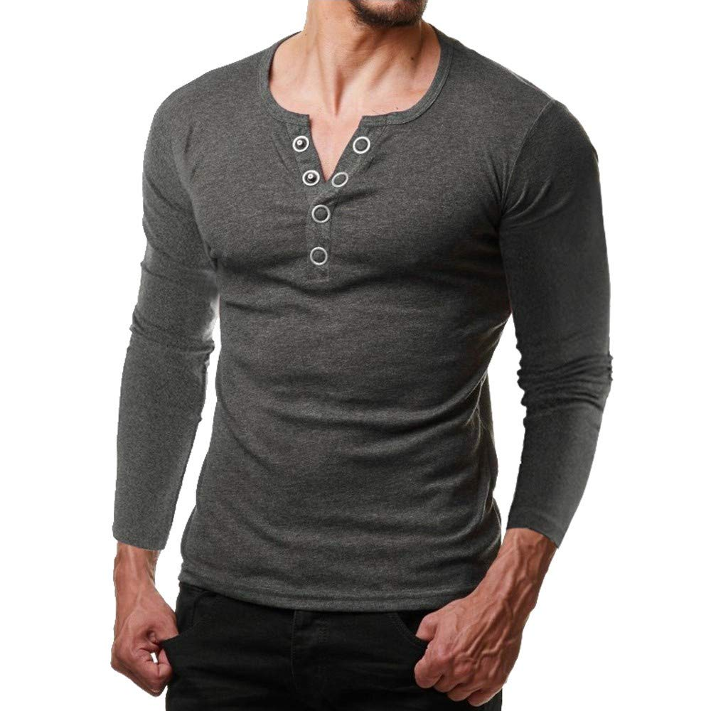 GREFER Button Tops Fashion Men Long Sleeve V Neck Shirt Solid Blouse Deep Gray