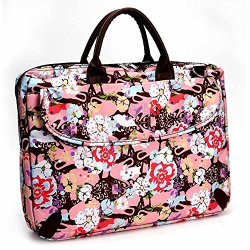 Price comparison product image Kroo's Canvas Printed Laptop Chromebook Messenger carrying bag w / handles includes shoulder strap for: Dell XPS 15 Touch