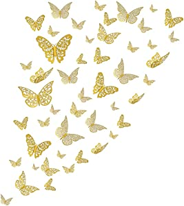 Butterfly Wall Decals Sticker Wall Decal Decor - 72Pcs Hollow gold Decor for Wall Sticker DIY Removable Mural Stickers Home Decoration Kids and Girl Living Room Bedroom Decor for Birthday Party(8)