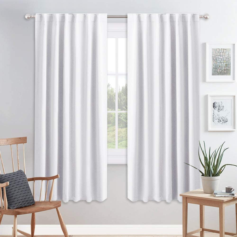 PONY DANCE White Curtains 72 inch - Light Filter Window Thermal Curtain Draperies Back Tab Drapes Home Decor for Bedroom Living Room, 52 Wide by 72 Long, Pure White, Set of 2