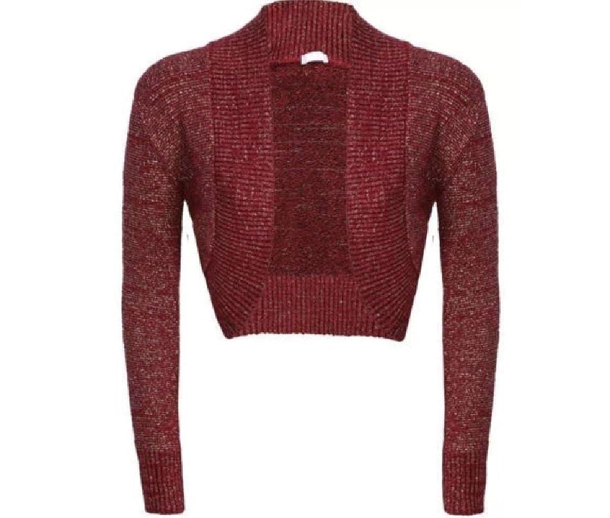 FLAVES FASHION (FF11 New Women's Shiny Knitted Lurex Bolero Long Sleeve Cropped Shrugs Cardigan