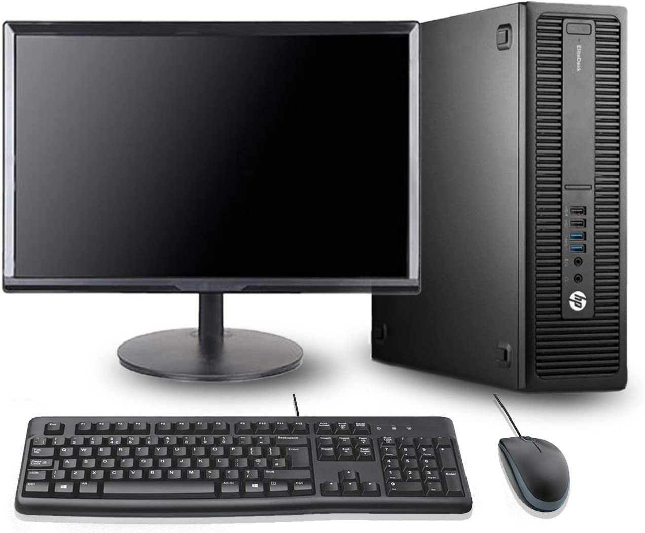 HP EliteDesk 800 G2 SFF Desktop Computer 24 Inch FHD Monitor Dual Hard Drive PC(Intel i5-6500 Up to 3.6GHz, 8GB RAM, 128GB SSD + 1TB HDD, WiFi, HDMI, Windows 10 Professional) (Renewed)